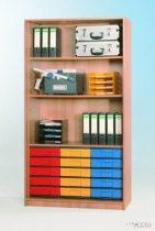 """InBox tárolószekrény, 15 db ,,M"""" típusú, színes fiókkal, ajtó nélkül"""