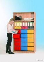 """InBox tárolószekrény, 15 db ,,L"""" tipusú színes fiókkal, ajtó nélkül"""
