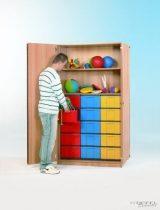 """InBox tárolószekrény, 15 db ,,L"""" tipusú színes fiókkal"""