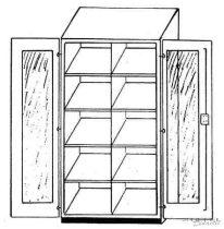 Szekrény teljes üvegajtóval, 120 cm széles, 40 cm mély