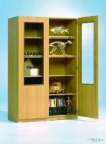 Szekrény kétharmados üvegajtóval, 120 cm széles, 40 cm mély