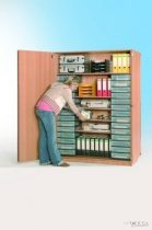 """InBox tárolószekrény, 28 db ,,M"""" tipusú átlátszó fiókkal, négy állítható polccal"""