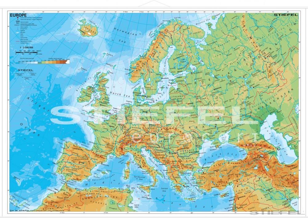 európa domborzata térkép Europe physical (angol Európa domborzati térkép)   Iskolaellátó.hu