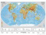 The World physical (angol domborzati világtérkép)