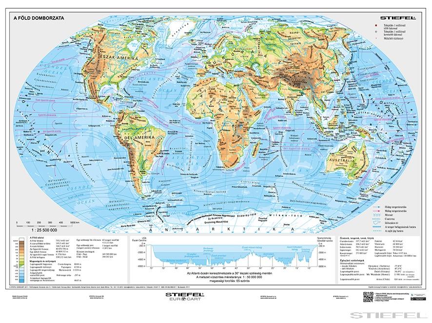 föld térkép A Föld domborzati + országai DUO föld térkép