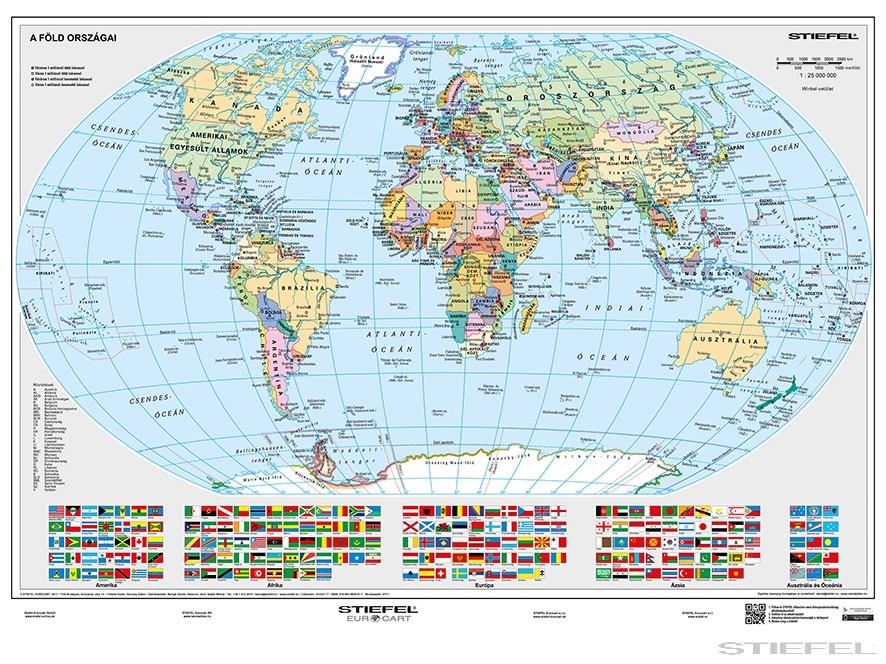földrajzi térkép A Föld domborzati + országai DUO földrajzi térkép