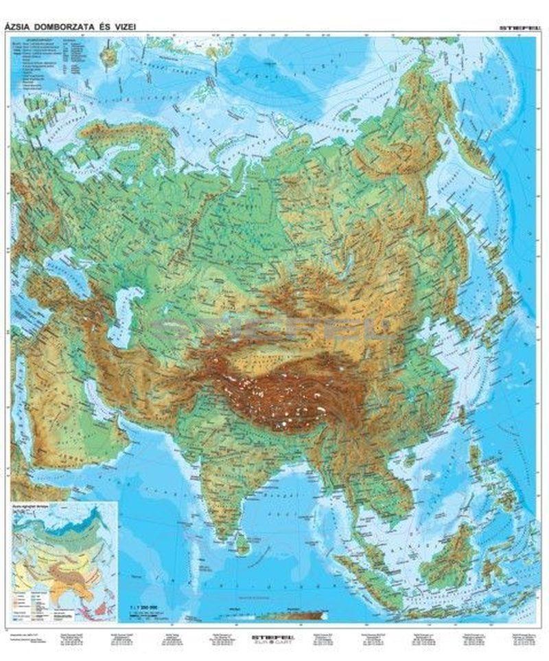 ázsia térkép domborzati Ázsia, domborzati + politikai DUO ázsia térkép domborzati