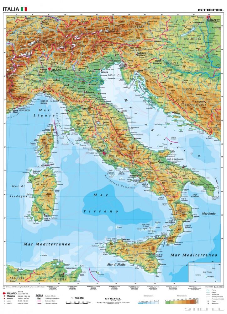 olaszország térkép Olaszország domborzati (olasz)   Iskolaellátó.hu