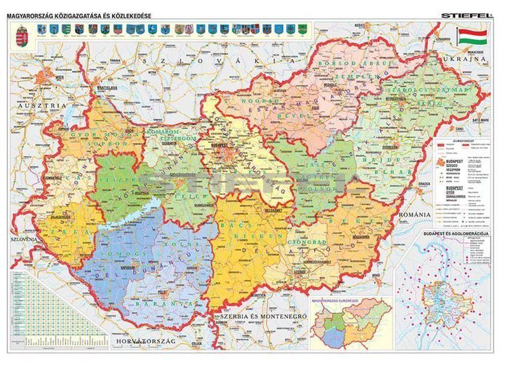magyarország térkép részletes Magyarország közigazgatása és közlekedése DUO