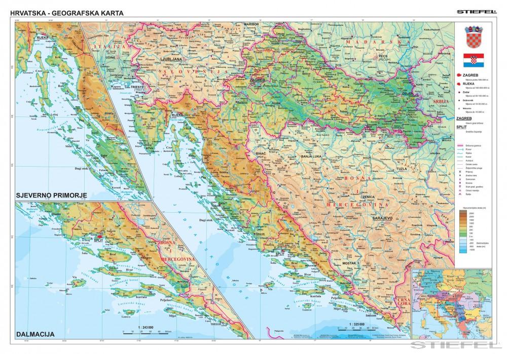 domborzati térkép horvátország Horvátország domborzati + vaktérkép DUO (horvát)   Iskolaellátó.hu domborzati térkép horvátország