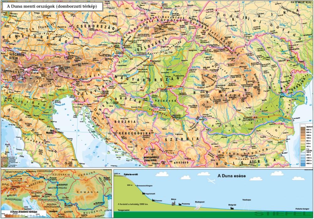 domborzati térkép A Duna   menti országok ( domborzati térkép)   Iskolaellátó.hu domborzati térkép