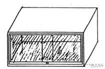 Felső kis szekrényelem üveg tolóajtóval, 95 cm széles, 60 cm mély