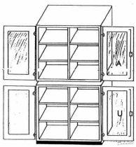 Felső szekrény üvegajtóval, 95 cm széles, 50 cm mély