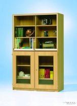 Felső szekrény üveg tolóajtóval, 4 db polccal, 95 cm széles, 50 cm mély