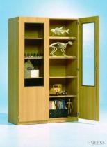 Szekrény kétharmados üvegajtóval, 95 cm széles, 60 cm mély