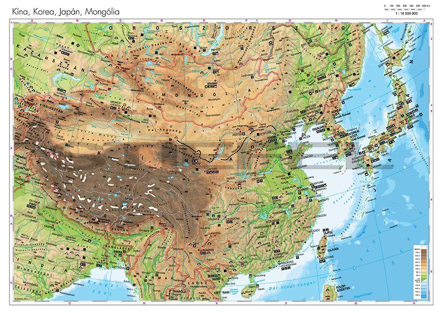 japán domborzati térkép Kína, Korea, Japán, Mongólia domborzata   Iskolaellátó.hu japán domborzati térkép