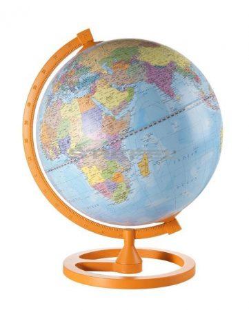 Colour Circle földgömb fatalp, fém meredián Narancs színű