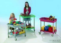 A mozgatható iskolai barkács-, játék,és építőkocsi (piros)