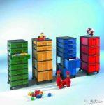 InBox fiókos tárolóelem, 83 cm magas, 8 db egyszínű lapos fiókkal