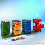 InBox fiókos tárolóelem, 63 cm magas, 3 db magas egyszínű fiókkal