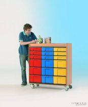 """InBox alacsony tárolószekrény, 9 db """"M"""" és 9 db """"L"""" típusú színes fiókkal"""
