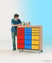 """InBox alacsony tárolószekrény, 9 db """"M"""" és 9 db """"L"""" típusú színes fiókkal, görgős"""