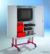 TV 20 modell, 1 db kihúzható videó- és 1 db rögzített polccal, piros fiókos elem