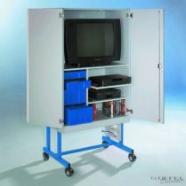 TV 20 modell, 1 db kihúzható videó- és 1 db rögzített polccal, kék fiókos elem