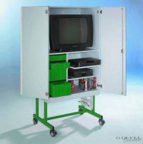 TV 20 modell, 1 db kihúzható videó- és 1 db rögzített polccal, zöld fiókos elem