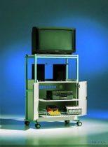 TV 6 modell, kihúzható polccal a videónak és kihúzható tárolórésszel a kazettáknak