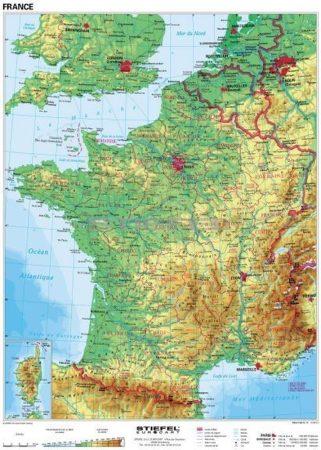 Franciaország domborzati térképe (francia)