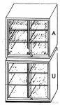 Felső szekrény üveg tolóajtóval, 2 db polccal, 95 cm széles, 50 cm mély