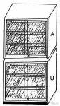 Alsó szekrény üveg tolóajtóval, 4 db polccal, 95 cm széles, 50 cm mély