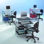 PC munkahely szék nélkül - Kék állvány és kék fiókok