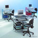 PC munkahely szék nélkül - Fehéralumínium színű állvány, átlátszó fiókokkal