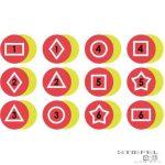 Memória fejlesztő taposható foltok, piros (12 db)