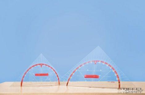 Szögmérős háromszögvonalzó (80 cm-es), mágneses